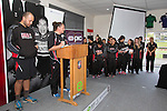 Melina Martene the Coach of the Secondary School Girls team annouces the Player of the Year award. Counties Manukau Rugby Unions Junior Prize giving held at ECOLight stadium on Thursday October 22nd 2015. Photo by Richard Spranger