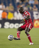 Chicago Fire forward Dominic Oduro (8) traps the ball. In a Major League Soccer (MLS) match, the New England Revolution tied the Chicago Fire, 1-1, at Gillette Stadium on June 18, 2011.