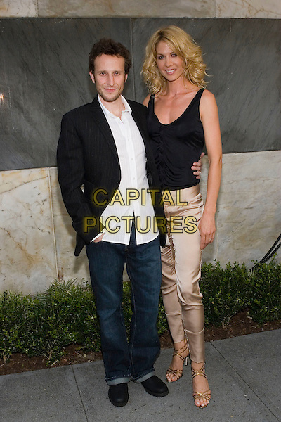 BODHI ELFMAN & JENNA ELFMAN.CBS Summer 2005 Press Tour Party Arrivals held at the Hammer Museum, Westwood, California.  .July 19th, 2005.Photo Credit: Zach Lipp/AdMedia.full length black tank top black suit jacket jeans denim metallic silk satin trousers gold sandals arm around waist.www.capitalpictures.com.sales@capitalpictures.com.© Capital Pictures.