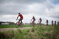 Taylor Phinney (USA/BMC) &amp; teammates at recon in sector 12: Orchies (1,7km).<br /> <br /> recon of the 114th Paris - Roubaix