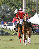 WELLINGTON, FL - MARCH 12:  Gonzalito Pieres of Audi takes the ball down the field as Orchard Hill defeats Audi 9-8, in the early rounds of the 26 goal USPA Gold Cup at the International Polo Club, Palm Beach on March 12, 2017 in Wellington, Florida. (Photo by Liz Lamont/Eclipse Sportswire/Getty Images)