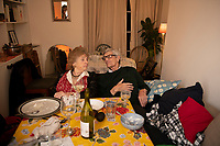 Mum and dad. Chritmas Eve on Erlanger Rd, Telegraph Hill, London
