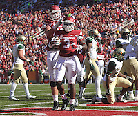 NWA Media/Michael Woods --10/25/2014-- w @NWAMICHAELW...University of Arkansas running back Alex Collins celebrates after scoreing a touchdown in the 1st quarter of Saturday's game at Razorback Stadium in Fayetteville.