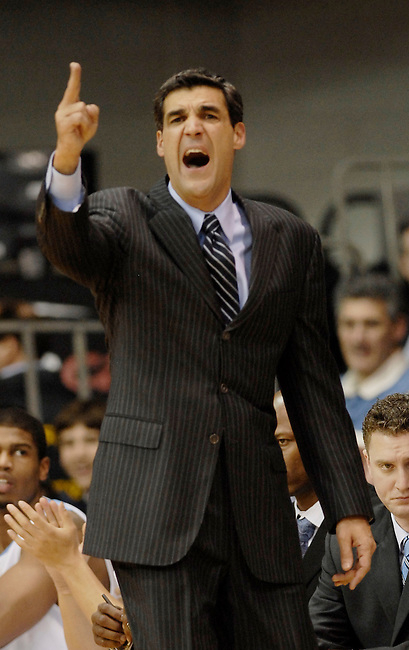 Villanova coach Jay Wright shouts direction to his players against DePAul in the first half NCAA college basketball game Wednesday, Jan 6, 2010 in Villanova, Pa. (AP Photo/Bradley C Bower)