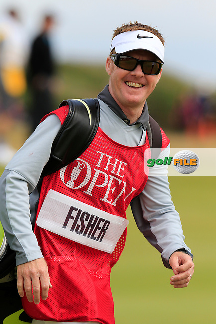 Ross FISHER (ENG) caddy Mark Sherwood on the 16th hole during Monday's Final Round of the 144th Open Championship, St Andrews Old Course, St Andrews, Fife, Scotland. 20/07/2015.<br /> Picture Eoin Clarke, www.golffile.ie