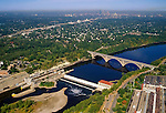 Aerial view of the Mississippi River and Minneapolis MN
