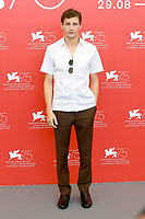 VENICE, ITALY - AUGUST 29: American actor Tye Sheridan attends the 75th Venice Film Festival photocall for The Mountain at Sala Casino on August 30, 2018 in Venice, Italy.<br /> CAP/BEL<br /> &copy;BEL/Capital Pictures