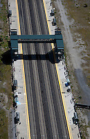 aerial photograph pedestrian rail overcrossing Bayshore CalTrain stop northern California