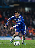 Pedro of Chelsea in action during the UEFA Champions League Round of 16 2nd leg match between Chelsea and PSG at Stamford Bridge, London, England on 9 March 2016. Photo by Andy Rowland.
