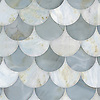 Mermaid Scales, a waterjet stone mosaic, shown in polished Pacifica and Azure, is part of the Semplice™ collection for New Ravenna.