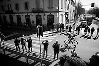 Matteo Bono (ITA/Lampre-Merida) tries to break away from the peloton as soon as the race has officially started<br /> <br /> 107th Milano-Sanremo 2016