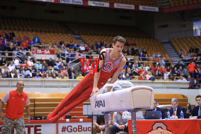 The Ohio State University men's gymnastics team defeat Michigan inside St. John Arena. February 4, 2017.<br /> (Photo by Walt Middleton 2017)