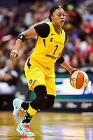 Washington, DC - June 15, 2018: Los Angeles Sparks guard Odyssey Sims (1) with the ball during game between the Washington Mystics and Los Angeles Sparks at the Capital One Arena in Washington, DC. (Photo by Phil Peters/Media Images International)