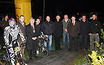 Night Light at the Western Lakes BMX track in Ballinrobe on monday evening last, the floodlights were officially turned on with the help of Cllr Michael Burke, Cathaoirleach Mayo County Council and Fr Conal Eustace ,.they are pictured with members of the Western Lakes cycling club, and Cllr Damien Ryan and Gerry Butler Cycling Safety Officer...Pic Conor McKeown