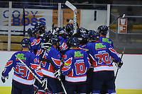 IJSHOCKEY: HEERENVEEN: IJsstadion Thialf, 19-10-2012, Friesland Flyers - Eindhoven, na stand 2-2 scoorde Trevor Hunt (#24) in overtime Flyers de winnende goal, ©foto Martin de Jong