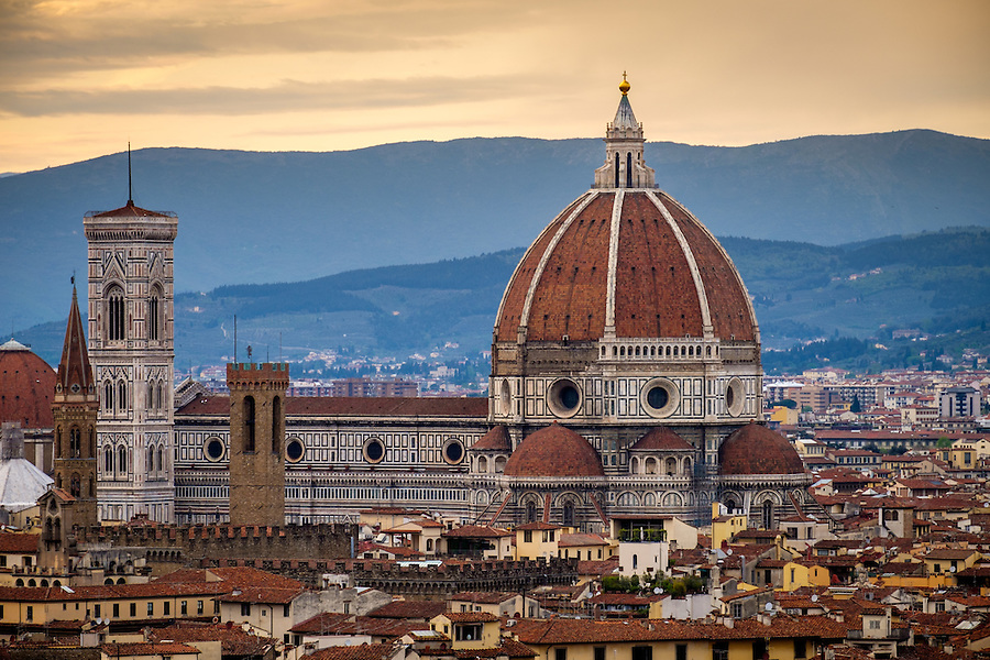 FLORENCE, ITALY - CIRCA MAY 2015:  Florence Cathedral,  Santa Maria del Fiore, known as The Duomo, at sunset as seen from Piazza Michelangelo