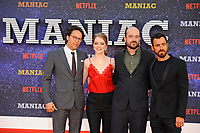 LONDON, ENGLAND - SEPTEMBER 13:  Cary Fukunaga, Emma Stone, Patrick Somerville and Justin Theroux attending the World premiere of the new Netflix series 'Maniac' at Southbank Centre on September 13, 2018 in London, England.<br /> CAP/MAR<br /> &copy;MAR/Capital Pictures