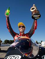 Sep 29, 2013; Madison, IL, USA; NHRA pro stock motorcycle rider Matt Smith celebrates after winning the Midwest Nationals at Gateway Motorsports Park. Mandatory Credit: Mark J. Rebilas-