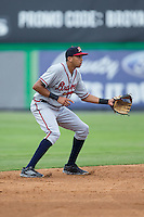 Danville Braves shortstop Kurt Hoekstra (25) on defense against the Burlington Royals at Burlington Athletic Park on July 12, 2015 in Burlington, North Carolina.  The Royals defeated the Braves 9-3. (Brian Westerholt/Four Seam Images)