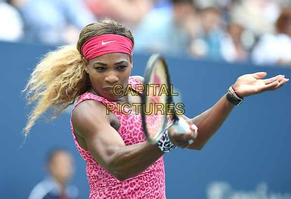 FLUSHING NY- AUGUST 30:  Serena Williams Vs. Varvara Lepchenko on Arthur Ashe Stadium at the USTA Billie Jean King National Tennis Center. Serena Williams returns a volley against Varvara Lepchenko during their match on August 30, 2014 in Flushing Queens. <br /> CAP/MPI/MPI04<br /> &copy;MPI04/MPI/Capital Pictures