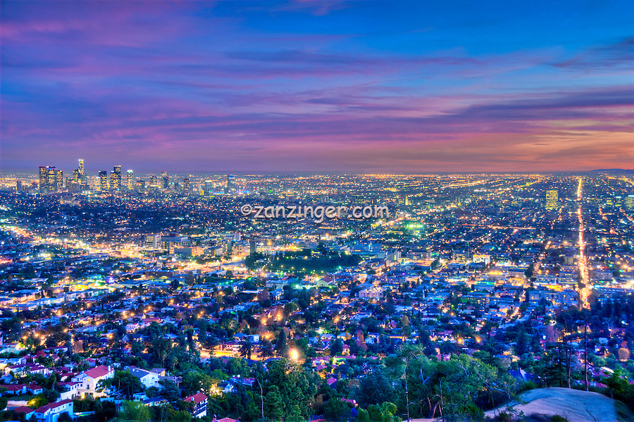 L.A. Skyline, los Angeles CA, Cityscape, Night, Dusk, lit, lights on, beautiful, Calif. California