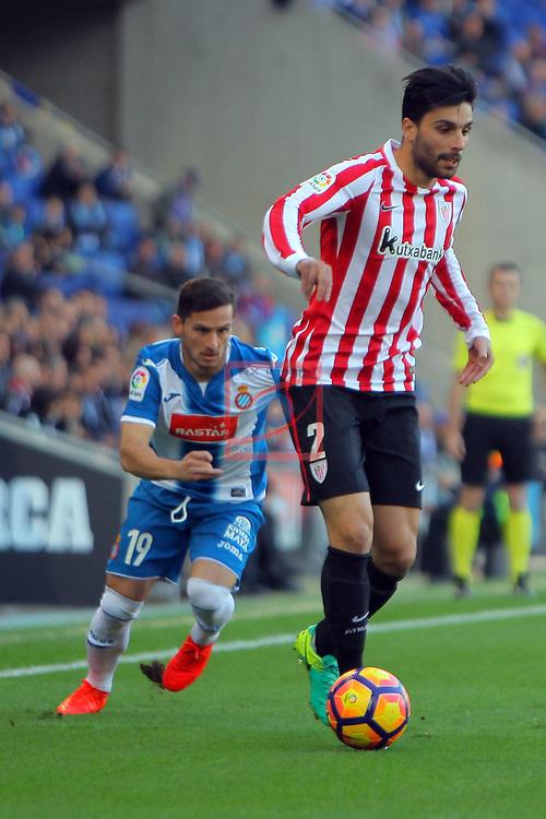 League Santander 2016/2017. Game: 11.<br /> RCD Espanyol vs Athletic Club: 0-0.<br /> Pablo Piatti vs Eneko Boveda.