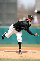 Leonel Santiago (16) of the Kane County Cougars during a game against the Clinton LumberKings at Elfstrom Stadium on April 23, 2011 in Geneva, Illinois. Photo by Chris Proctor/Four Seam Images