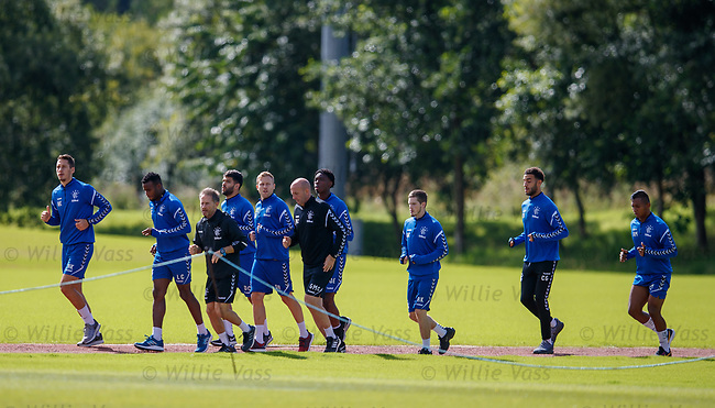 10.08.18 Rangers training: Last night's starters having a recovery session at training
