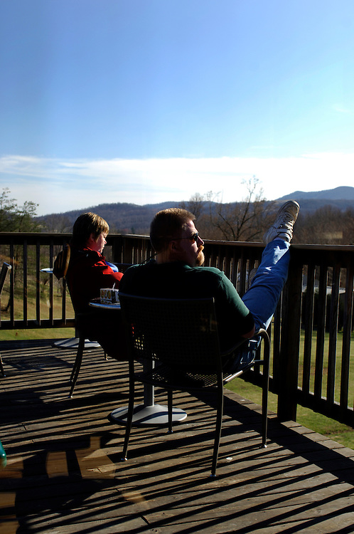 Jeff and Kate Nelson enjoy the view and some wine at Naked Mountain Vineyard and Winery in Markham Virginia. The vineyard is known locally for its wonderful selection of chardonnays.