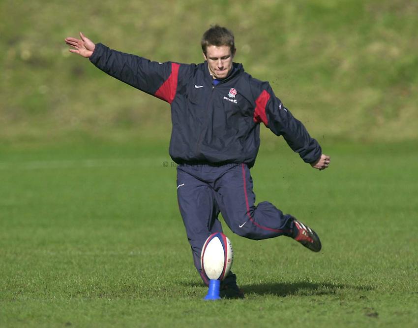 Photo. Richard Lane. .England Squad Training at Pennyhill Hotel, Bagshot.. 27-2-2002.Jonny Wilkinson