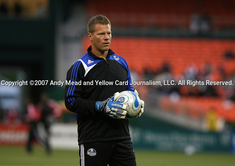 14 April 2007: Kansas City's goalkeeper and fitness coach Dave Tenney.  DC United played the Kansas City Wizards at RFK Stadium in Washington, DC in their Major League Soccer 2007 regular season home opener.