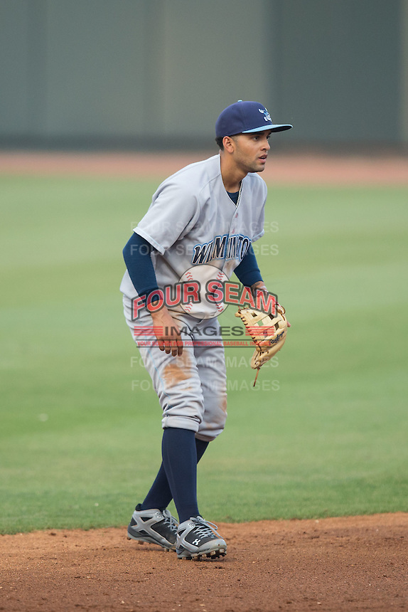Wilmington Blue Rocks shortstop Jack Lopez (11) on defense against the Winston-Salem Dash at BB&T Ballpark on June 10, 2015 in Winston-Salem, North Carolina.  The Blue Rocks defeated the Dash 11-5.  (Brian Westerholt/Four Seam Images)