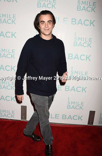 HOLLYWOOD, CA - OCTOBER 21: Writer  Nicholas Jarecki arrives at the premiere of Broad Green Pictures' 'I Smile Back' at ArcLight Cinemas on October 21, 2015 in Hollywood, California.