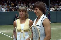 Wimbledon Championships London England 27/06/1980<br /> Chris Evert Lloyd (USA) Martina Navratilova (CZE)<br /> Photo Roger Parker Fotosports International