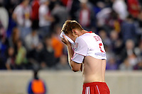 Tim Ream (5) of the New York Red Bulls reacts after the game. CD Chivas USA defeated the New York Red Bulls 3-2 during a Major League Soccer (MLS) match at Red Bull Arena in Harrison, NJ, on May 15, 2011.