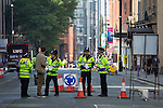 © Joel Goodman - 07973 332324 . No syndication permitted . 28/09/2013 . Manchester , UK . Police secure roads around the conference venue and erect a ring of steel to secure the venue . Preparations ahead of the Conservative Party annual conference in Manchester , today (Saturday 28th September 2013) . Photo credit : Joel Goodman