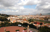 Florence, Italy - March 27, 2006 -- Wide view of Florence, Italy from Piazzale Michelangelo, a terrace on a hill built in the 1870s, looking at the shoreline of the Arno River looking towards the Ponte Vecchio Bridge in Florence, Italy on Wednesday, March 29, 2006..Credit: Ron Sachs / CNP