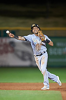 Mesa Solar Sox Yefri Perez (1), of the Miami Marlins organization, throws to first attempting a double play during a game against the Scottsdale Scorpions on October 17, 2016 at Scottsdale Stadium in Scottsdale, Arizona.  Mesa defeated Scottsdale 12-2.  (Mike Janes/Four Seam Images)