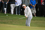 Ian Poulter (ENG) chips onto the 1st green during the Final Day of the BMW PGA Championship Championship at, Wentworth Club, Surrey, England, 29th May 2011. (Photo Eoin Clarke/Golffile 2011)