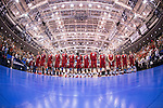 07 MAY: The Ohio State University team stands for the National Anthem during the Division I Men's Volleyball Championship held at Rec Hall on the Penn State University campus in University Park, PA. Ohio State defeated BYU 3-1 for the national title. Ben Solomon/NCAA Photos