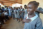 A girls' group at the John Paul II School in Wau, South Sudan, performs songs focused on ending violence and empowering girls.