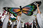 © Joel Goodman - 07973 332324 . 06/06/2015. Manchester , UK . Puppet butterfly being flown at The Parklife 2015 music festival in Heaton Park , Manchester . Photo credit : Joel Goodman
