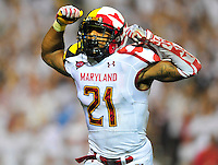 Trenton Hughes of the Terrapins is all fired up. Maryland defeated Miami 32-24 during a game at the Byrd Stadium in College Park, MD on Monday, September 5, 2011. Alan P. Santos/DC Sports Box