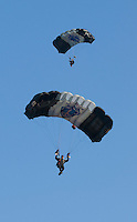 US Army Silver Knights parachute during an 82nd Ariborne graduation ceremony at Ft. Benning, Ga.