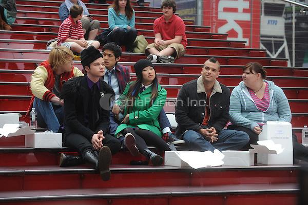 Chord Overstreet, Chris Colfer, Harry Shum Jr., Jenna Ushkowitz, Mark Salling and Ashley Fink on the set of the TV show 'Glee' in New York City. April 25, 2011. © mpi01 / MediaPunch Inc.