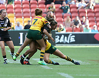 New Zealand's Hilda Peters is tackled by Australia's Caitlin Moran, left, during the women's Rugby League World Cup final between Australia and New Zealand, Suncorp Stadium, Brisbane, Australia, 2 December 2017. Copyright Image: Tertius Pickard / www.photosport.nz MANDATORY CREDIT/BYLINE : Tertius Pickard/SWpix.com/PhotosportNZ