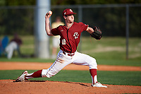 Boston College Eagles relief pitcher Brendan Spagnuolo (18) delivers a pitch during a game against the Minnesota Golden Gophers on February 23, 2018 at North Charlotte Regional Park in Port Charlotte, Florida.  Minnesota defeated Boston College 14-1.  (Mike Janes/Four Seam Images)