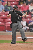 Home plate umpire Donnie Smith in action during a game between the Cedar Rapids Kernels and the Beloit Snappers at Veterans Memorial Stadium on April 8, 2017 in Cedar Rapids, Iowa.  The Snappers won 7-6.  (Dennis Hubbard/Four Seam Images)
