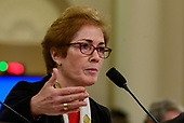"""Marie """"Masha"""" Yovanovitch, former United States Ambassador to Kyiv, Ukraine, on behalf of the US Department of State, testifies during the US House Permanent Select Committee on Intelligence public hearing as they investigate the impeachment of US President Donald J. Trump on Capitol Hill in Washington, DC on Friday, November 15, 2019.<br /> Credit: Ron Sachs / CNP<br /> (RESTRICTION: NO New York or New Jersey Newspapers or newspapers within a 75 mile radius of New York City)"""