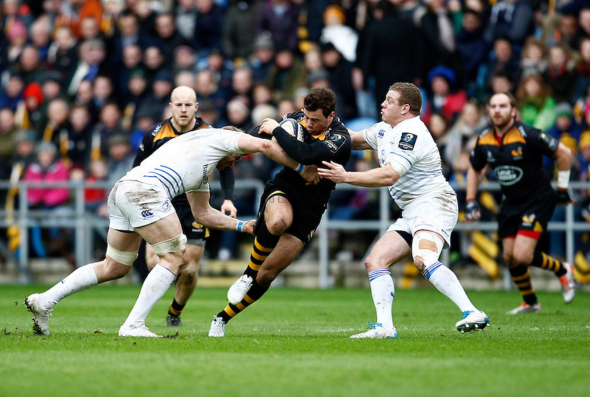 Photo: Richard Lane/Richard Lane Photography. Wasps v Leinster Rugby.  European Rugby Champions Cup. 24/01/2015. Wasps' Rob Miller attacks.